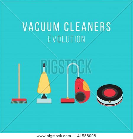 Evolution of vacuum cleaner, a retro vacuum cleaner, a modern vacuum cleaner and a robotic vacuum