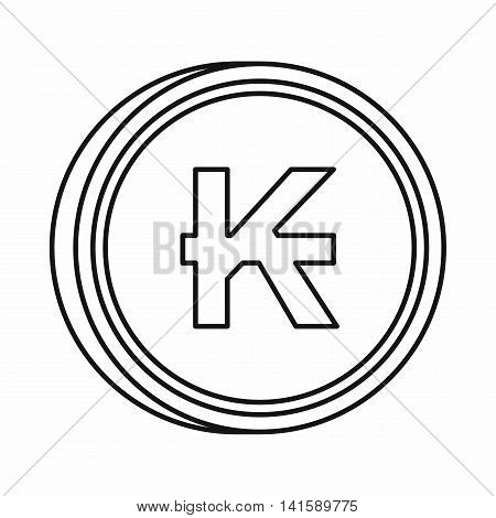 Lao Kip sign icon in outline style isolated on white background