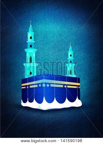 Illustration of Kaaba, Mekkah. Islamic sacred Masjid-Al-Haram on glossy grunge background.