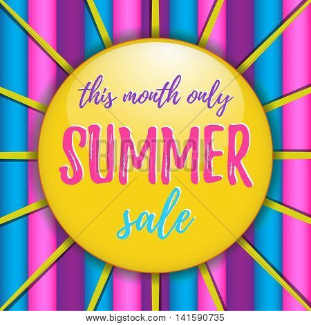 Coolorful summer sale vector illustration with hot yelow sun and stripes