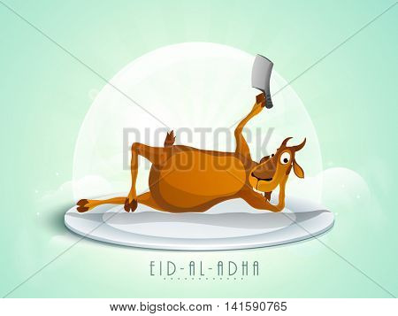 Vector illustration of funny Goat lying on stage and holding Cleaver Knife for Muslim Community, Festival of Sacrifice, Eid-Al-Adha Celebration.
