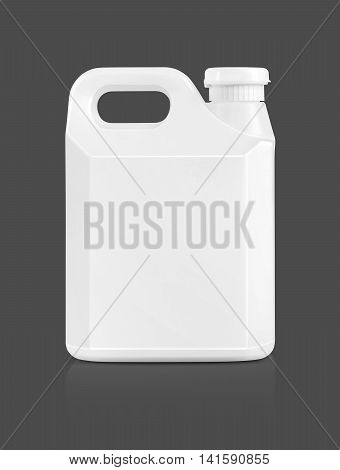 blank packaging white plastic gallon isolated on gray background with clipping path