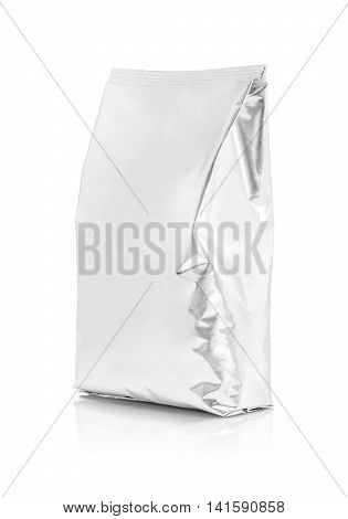blank packaging aluminum foil pouch isolated on white background with clipping path