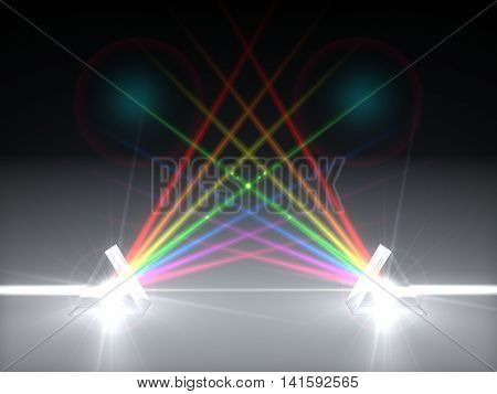 3D Illustration Dual Prism And Refraction Light Ray.