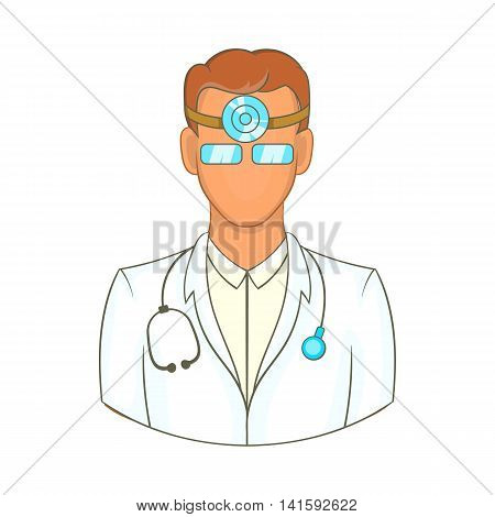 Doctor with stethoscope and reflector frontal of otolaryngologist icon in cartoon style on a white background