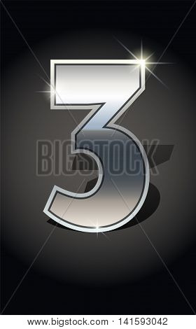 Silver number three on dark background isolated. Silver alphabet. Vector illustration number three for Silver numbers design. Number three icon. Vector illustration stock vector.