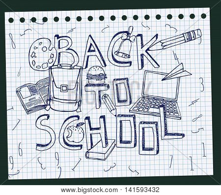 Hand Drawn school related image. Vector illustration. Blue pen drawing on a white exercise book sheet background. Back to school concept in sketchy style poster