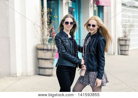 Two Female Friends Having Fun Outside