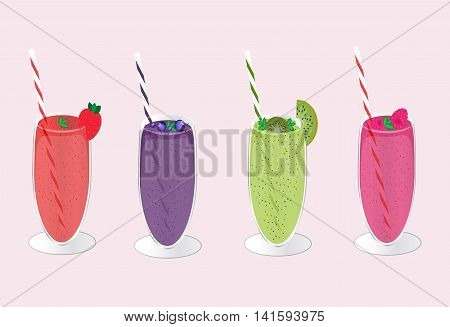 Smoothie collection. Organic fruit shake smoothie. Smoothie glass with different fruits. Smoothies cocktail drink. Vector illustration