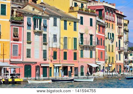 PORTOFINO GENOA, ITALY-MARCH 6: the famous Ligurian village and its colorful houses - March 6 2014 in Portofino Genoa, Italy
