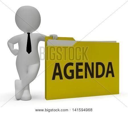 Agenda Folder Represents Binder Schedule 3D Rendering