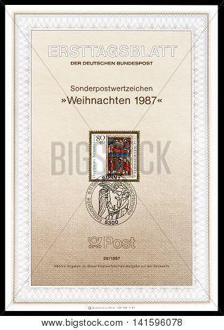 GERMANY - CIRCA 1987 : Cancelled First Day Sheet printed by Germany, that shows religious motive.