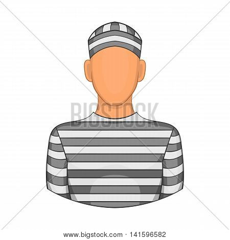 Prisoner icon in cartoon style on a white background