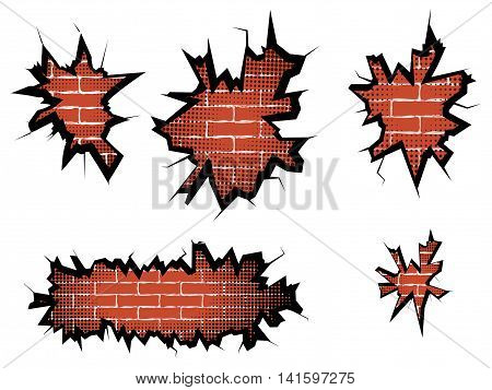 Set hole in broken wall and brick background with halftone. Vector illustration.