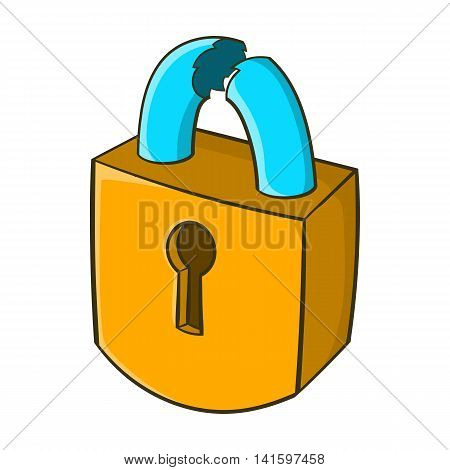 Padlock which is broken icon in cartoon style on a white background