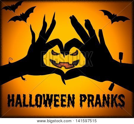 Halloween Pranks Indicates Trick Or Treat And Autumn