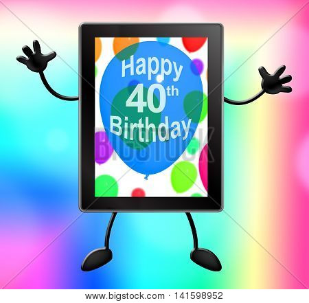 Multicolored Balloons For Celebrating A 40Th Or Fortieth Birthday Tablet