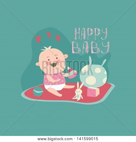 Happy toddler with baby toys. Vector illustration