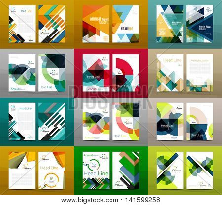 Set of A4 size annual report brochure covers, business corporate identity flyer templates. Modern minimal geometric design layouts