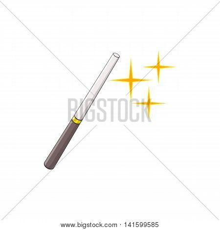 Magic wand icon in cartoon style on a white background