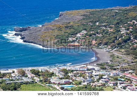 Aerial view black beaches of Vulcano Aeolian Islands near Sicily Italy