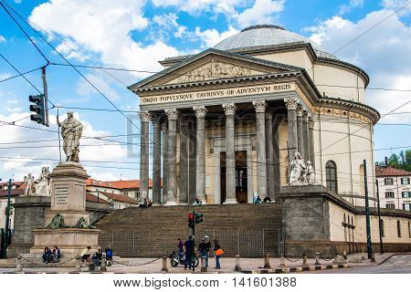 TURIN ITALY - APRIL 26 2016; view of The church of Gran Madre di Dio in Turin Italy