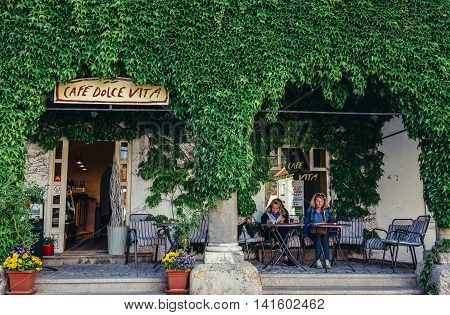 Mikulov Czech Republic - May 17 2015. Cafe bar on the Old Town of small Mikulov city in South Moravian Region