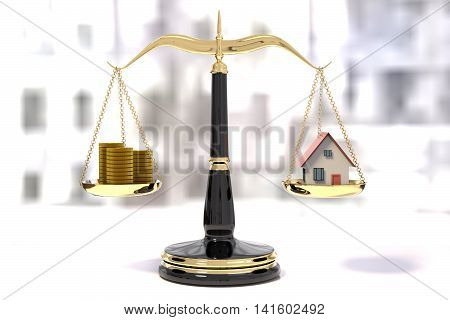 3D rendering of classic scales of justice with stacks of coins and a house balance scale
