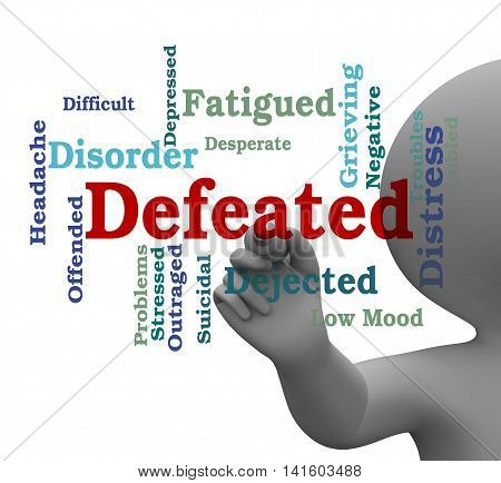 Defeated Word Indicates Overpower Wordcloud 3D Rendering
