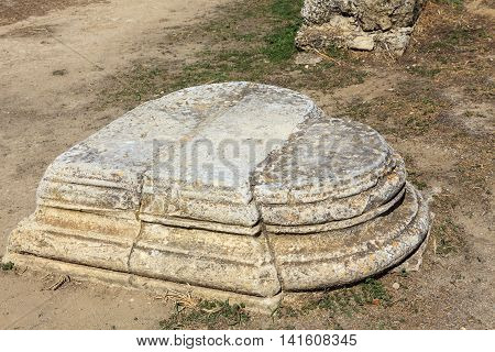 Heart shaped plinth at the archaeological site of Salamis in Famagusta, Cyprus.