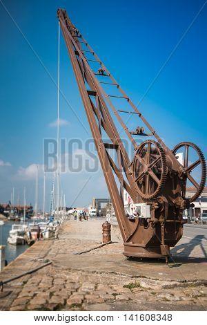Vintage Quayside Crane Of Noirmoutier