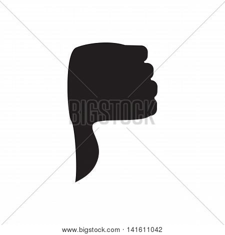 Hand with thumb down icon in simple style isolated on white background. Click and choice symbol
