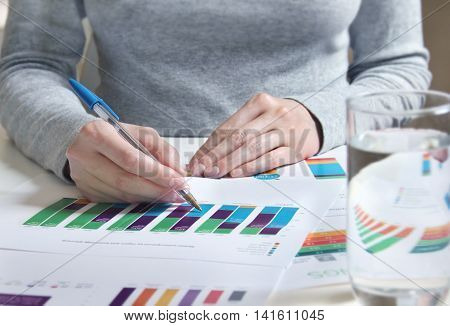 Reviewing business documents with charts and graphs