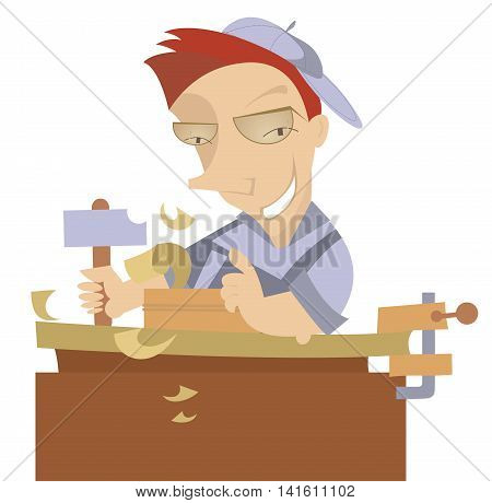 Joiner. Cheerful carpenter works at joinery shop