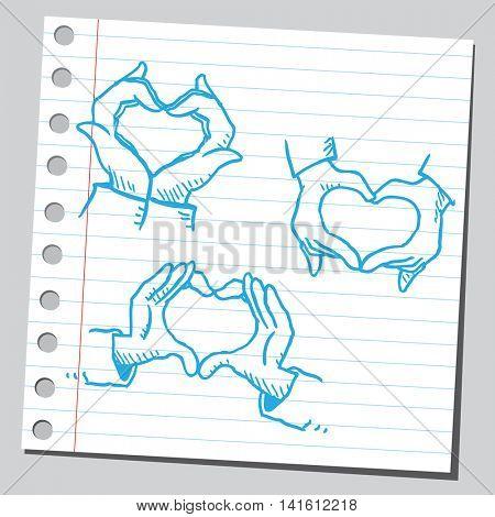 Heart shape hand signs