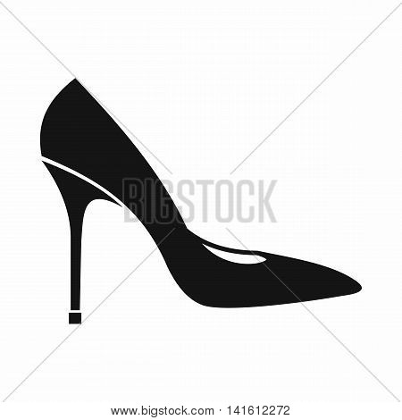 Women shoe with high heels icon in simple style isolated on white background. Wear symbol