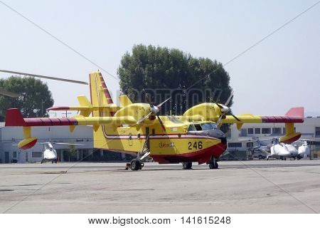 VAN NUYS - AUG 7: The super scoopers, technically called fixed-wing Canadair Bombardier CL-415s are back to fight fires in California on August 7, 2016 in Van Nuys, CA