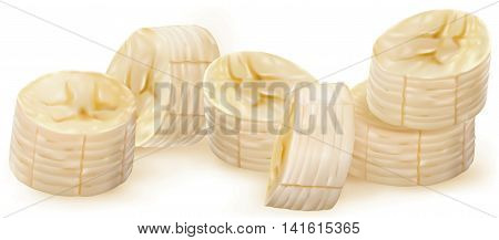 Whole and peeled bananas with slices on white. Vector illustration