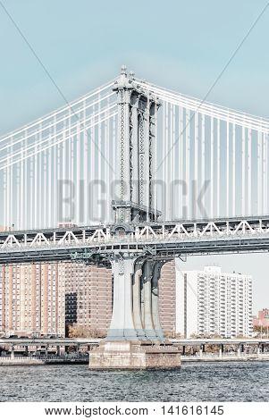 Manhattan Bridge In New York City United States America