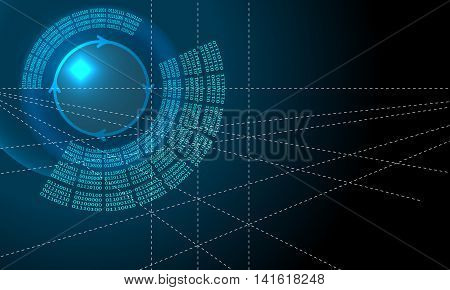 Vector abstract background with circular binary code and arrows