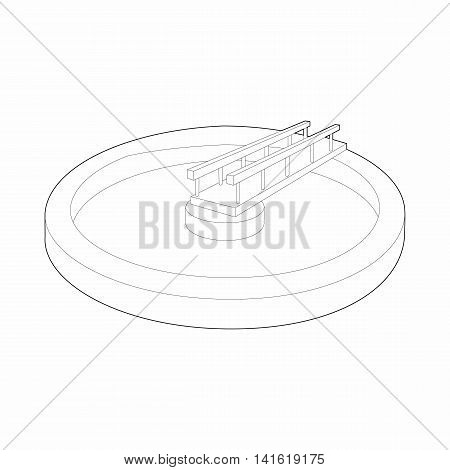 Round pool icon in outline style isolated on white background. Water supplies symbol
