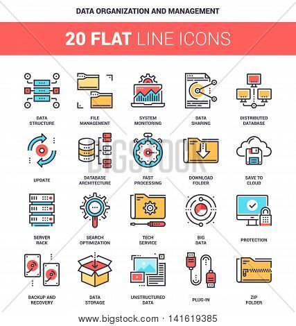 Vector set of data organization and management flat line web icons. Each icon with adjustable strokes neatly designed on pixel perfect 64X64 size grid. Fully editable and easy to use.