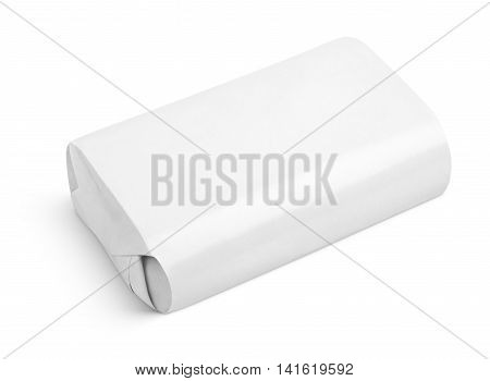 Soap wrap box package isolated on white background with clipping path
