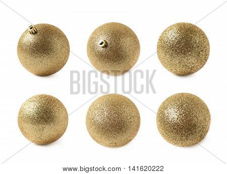 Single golden Christmas tree ball decoration isolated over the white background, set of six different foreshortenings