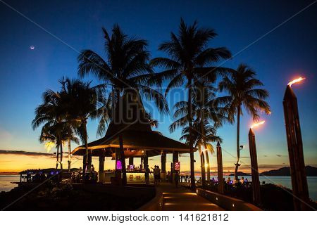 Luxury tropical beach restaurant  at night in Kota Kinabalu, Malaysia