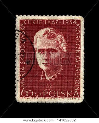 POLAND - CIRCA 1967: cancelled stamp printed in Poland shows famous polish Nobel prize winner in 1903,1911 - physicist scientist, radioactivity observer Marie Sklodowska-Curie, circa 1967. vintage post stamp isolated on black background.