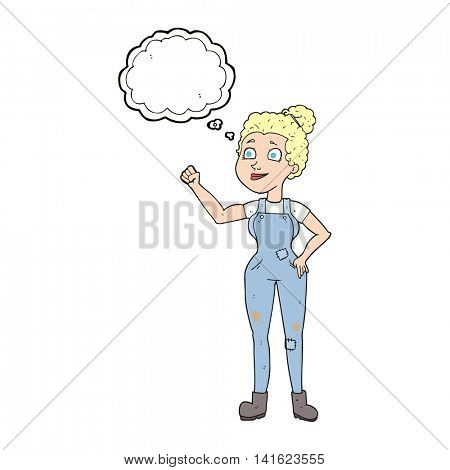 freehand drawn thought bubble cartoon woman in dungarees