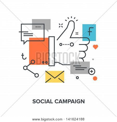 Vector illustration of social campaign flat line design concept.
