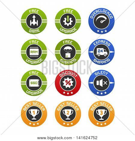 Vector set of flat icons or badges for computers online selling. Free upgrade game ram ssd shipping discount and best seller.