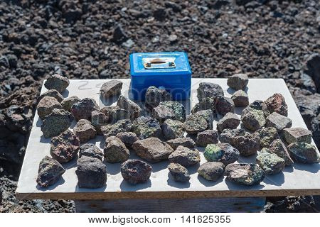 Selling Lavastones With Peridot Olivine At Los Hervideros In Lanzarote